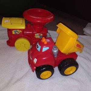 Payskool Tonka Wheel Drivers Dump Truck & Fire Tru